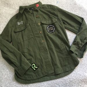 F21 utility jacket army green with patches - small